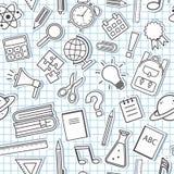 Naadloos patroon met schoollevering op geruite achtergrond Vector stock illustratie