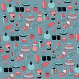 Naadloos patroon met schoonheidsmiddelen Stock Afbeelding