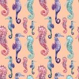 Naadloos patroon met seahorse vector illustratie