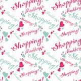 Naadloos patroon met & x22; Shopping& x22; tekst royalty-vrije illustratie