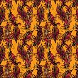 Naadloos patroon met sierveer, stammenontwerp Inkt han Royalty-vrije Stock Fotografie