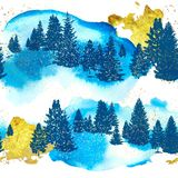 Naadloos patroon met silhouetten bosbomen, gouden slagen en waterverftextuur Vector illustratie stock illustratie