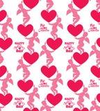 Naadloos patroon met silhouetten van engel en hart calligraph Stock Foto's