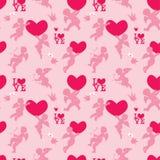 Naadloos patroon met silhouetten van engel, hart, vogel en vraag stock illustratie