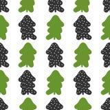 Naadloos patroon met silhouetten van Kerstbomen en ronde sneeuwvlokken Stock Foto's