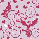 Naadloos patroon met silhouetten van vogels Stock Afbeeldingen