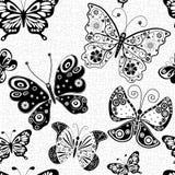 Naadloos patroon met silhouettenvlinders Stock Fotografie