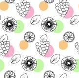 Naadloos patroon met sinaasappel, kiwifruit, framboos Stock Fotografie