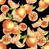 Naadloos patroon met sinaasappelen De hand trekt waterverfillustratie Royalty-vrije Stock Foto