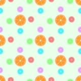 Naadloos patroon met sinaasappelen en patronen royalty-vrije illustratie