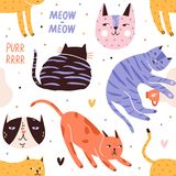 Naadloos patroon met slaap, het spelen, de jachtkatten of katjes en hun snuiten Achtergrond met aanbiddelijke huisdieren royalty-vrije illustratie