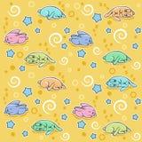 Naadloos patroon met slaapkonijnen Royalty-vrije Stock Afbeeldingen