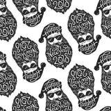 Naadloos patroon met Slechte Kerstman in glazen met typografie Gelukkig Nieuwjaar 2018 op hoed en baard CS en stock illustratie