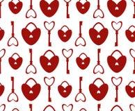 Naadloos Patroon met slot en sleutel in de vorm van hart Stock Afbeeldingen