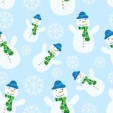 Naadloos patroon met sneeuwman Royalty-vrije Illustratie