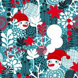 Naadloos patroon met sneeuwman en bloemen. Royalty-vrije Stock Foto's