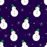 Naadloos patroon met sneeuwman en ster op donkere achtergrond Ornament voor textiel en het verpakken vector illustratie