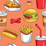 Naadloos patroon met snel voedsel Stock Afbeelding