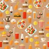 Naadloos patroon met snel voedsel en drank. Royalty-vrije Stock Foto