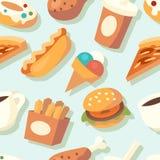 Naadloos patroon met snel voedselpictogrammen Royalty-vrije Stock Afbeeldingen