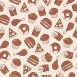 Naadloos patroon met snel voedselpictogrammen Royalty-vrije Illustratie