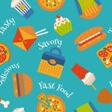 Naadloos patroon met snel voedselsymbolen Menuachtergrond Stock Foto's
