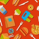 Naadloos patroon met snel voedselsymbolen Menuachtergrond Stock Afbeeldingen