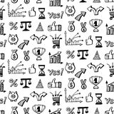 Naadloos patroon met Sociale media bedrijfskrabbels Stock Afbeelding