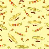 Naadloos patroon met sombrero's, snorren, maracas en document vlaggen royalty-vrije illustratie