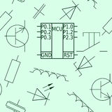 Naadloos patroon met spaander en elektronische elementen Royalty-vrije Stock Foto
