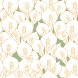 Naadloos patroon met spathiphyllumbloemen op groen stock illustratie