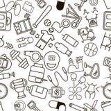 Naadloos patroon met sporten en fitness pictogrammen Royalty-vrije Stock Afbeelding