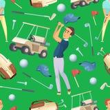 Naadloos patroon met sportillustraties bij golfthema royalty-vrije illustratie