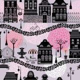 Naadloos patroon met sprookjehuizen royalty-vrije illustratie