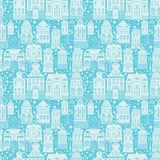 Naadloos patroon met sprookjehuizen, lantaarns Royalty-vrije Stock Afbeeldingen