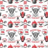Naadloos patroon met steakhousesymbolen Grill, bbq, vers vlees Ontwerpelement voor affiche, menu, vlieger, banner, menu, pakket stock illustratie
