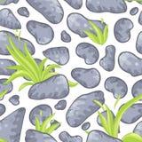 Naadloos patroon met stenen en gras Royalty-vrije Stock Foto