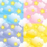 Naadloos patroon met sterren en wolken Royalty-vrije Stock Afbeelding