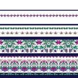 Naadloos patroon met strepen en middeleeuws bloemenpatroon royalty-vrije illustratie