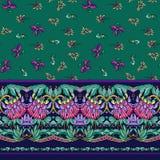Naadloos patroon met strepen en middeleeuws bloemenpatroon vector illustratie