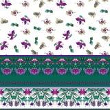 Naadloos patroon met strepen en middeleeuws bloemenpatroon stock illustratie