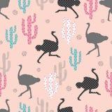 Naadloos patroon met struisvogel en cactus royalty-vrije illustratie