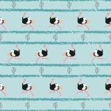 Naadloos in patroon met struisvogel en cactus royalty-vrije illustratie