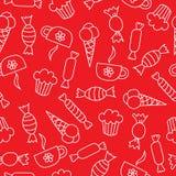 Naadloos patroon met suikergoed, roomijs, cakes en koppen Royalty-vrije Stock Afbeelding