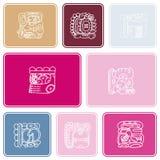 Naadloos patroon met symbool van Maya Night Lord Stock Foto