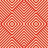 Naadloos patroon met symmetrisch geometrisch ornament Gestreepte rode witte abstracte achtergrond Stock Foto