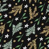 Naadloos patroon met takken van Kerstmisboom en sterren op zwarte achtergrond stock illustratie