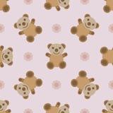 Naadloos patroon met teddybeerstuk speelgoed Stock Afbeelding