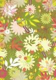 Naadloos patroon met tedere bloemen en vogels Stock Afbeeldingen
