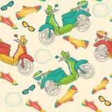 Naadloos patroon met tennisschoenen, bromfietsen en zonnebril Stock Foto's